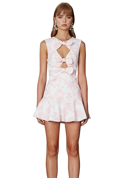 buy the latest Flower Shadow Bow Mini Dress online
