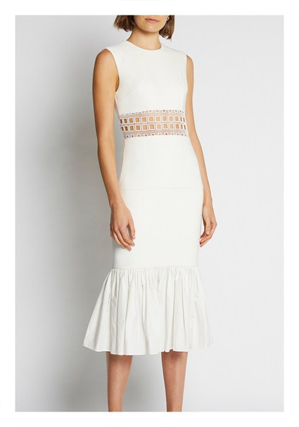 buy the latest White Cage Panel Gather Midi Dress online