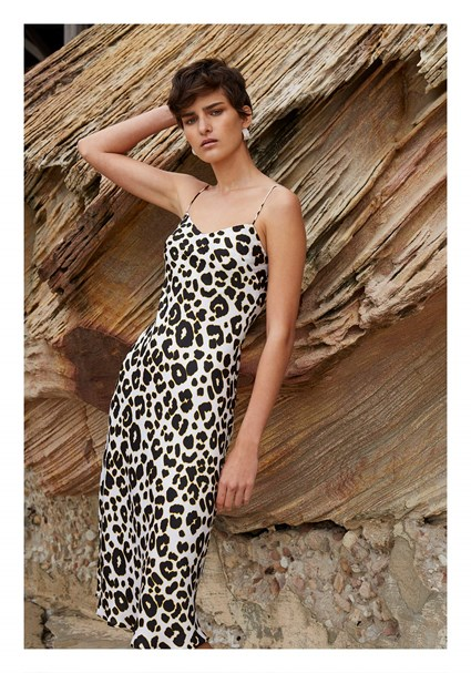 buy the latest Leopard Bias Midi Dress online