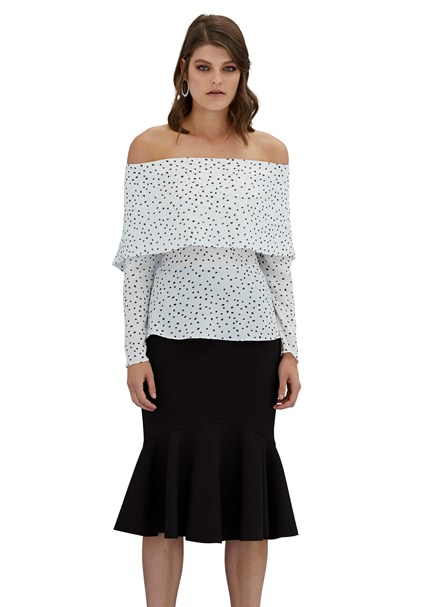 buy the latest Ribbed Drop Frill Midi Skirt online