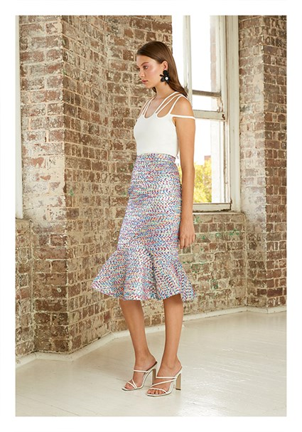 buy the latest Confetti Tweed V Flare Midi Skirt online