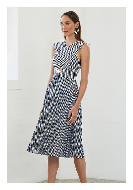 5b30a707c0 buy the latest Crossed Check Pleat Midi Dress online