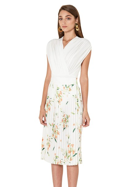 buy the latest Floral Pleated Midi Skirt online