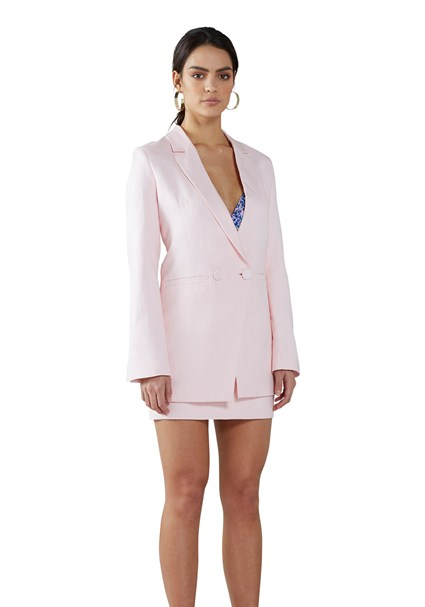 buy the latest Strawberry Cream Linen Structured Blazer online