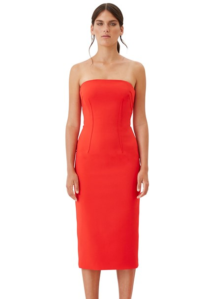 buy the latest Chili Red Darted Strapless Dress online