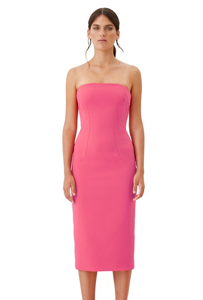 buy the latest Bold Pink Strapless Midi Dress online