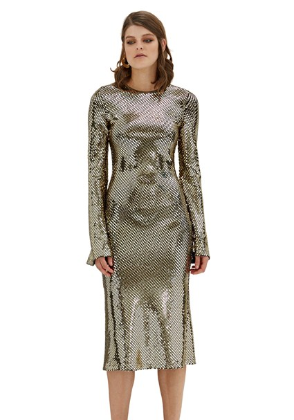 buy the latest Gold Reflections Bell Sleeve Dress online