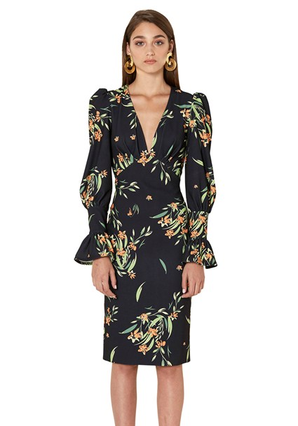 buy the latest Black Jungle Tulip Sleeve Dress online