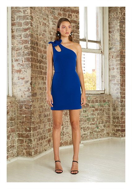 buy the latest Double Bow Asymmetric Mini Dress online